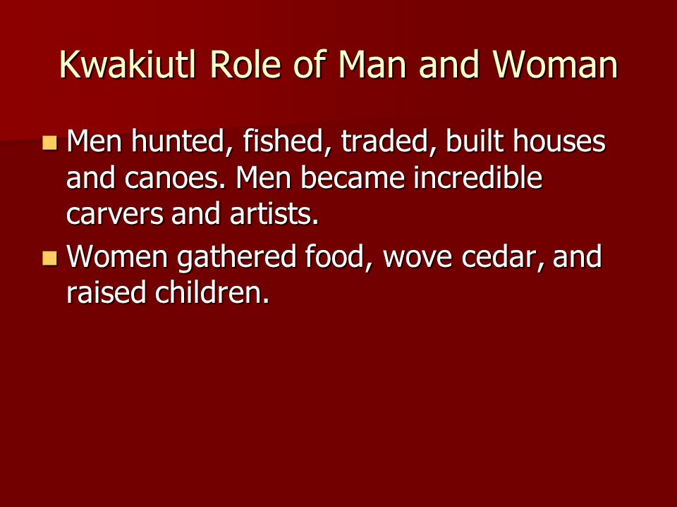 Kwakiutl Role of Man and Woman