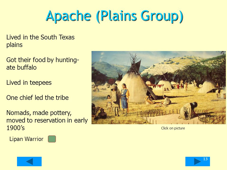 Apache (Plains Group) Lived in the South Texas plains