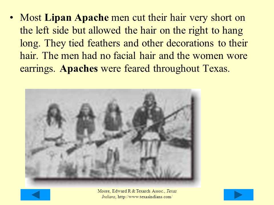 Most Lipan Apache men cut their hair very short on the left side but allowed the hair on the right to hang long. They tied feathers and other decorations to their hair. The men had no facial hair and the women wore earrings. Apaches were feared throughout Texas.