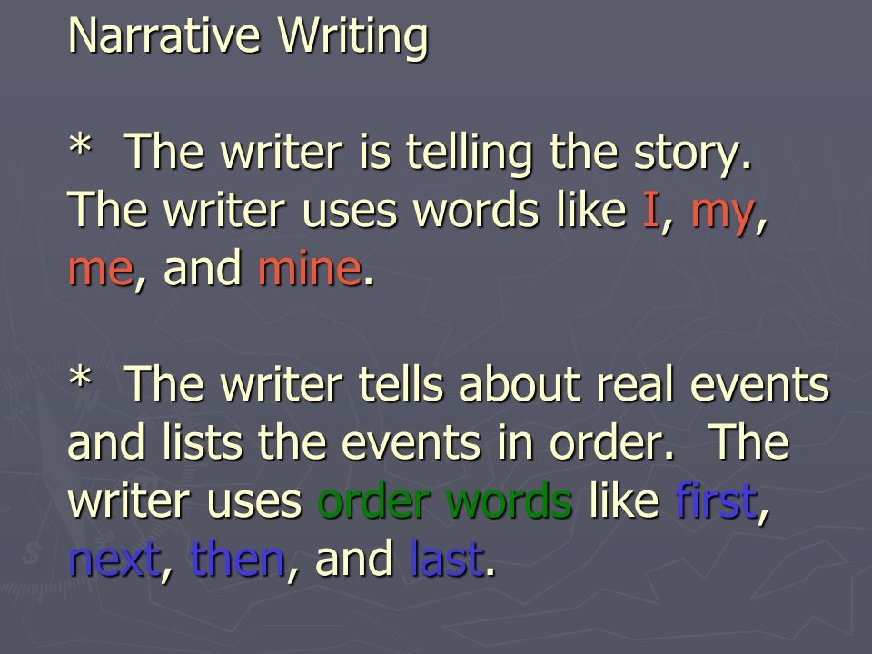 Narrative Writing. The writer is telling the story