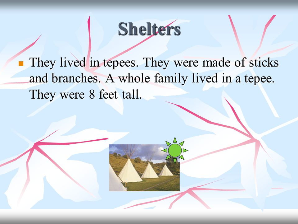 Shelters They lived in tepees. They were made of sticks and branches.