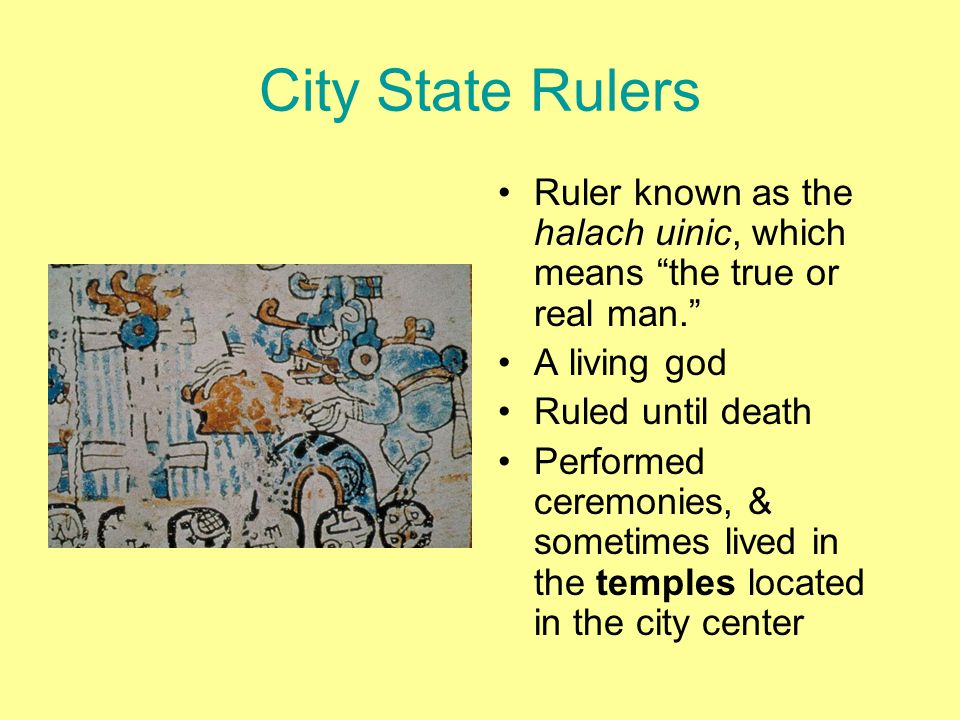 City State Rulers Ruler known as the halach uinic, which means the true or real man. A living god.