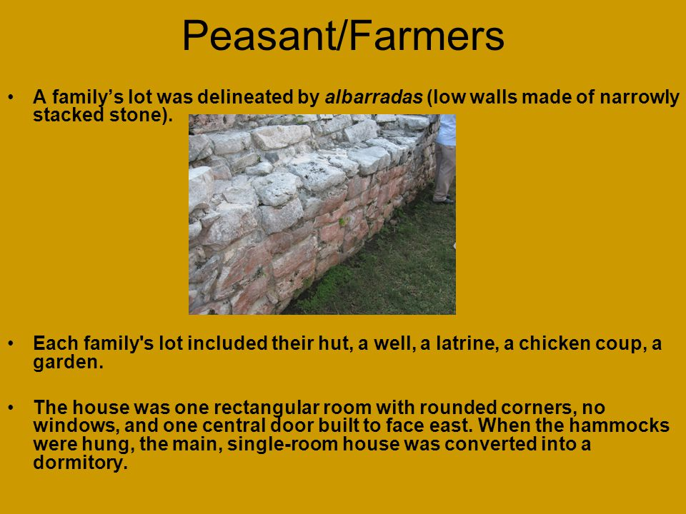 Peasant/Farmers A family's lot was delineated by albarradas (low walls made of narrowly stacked stone).