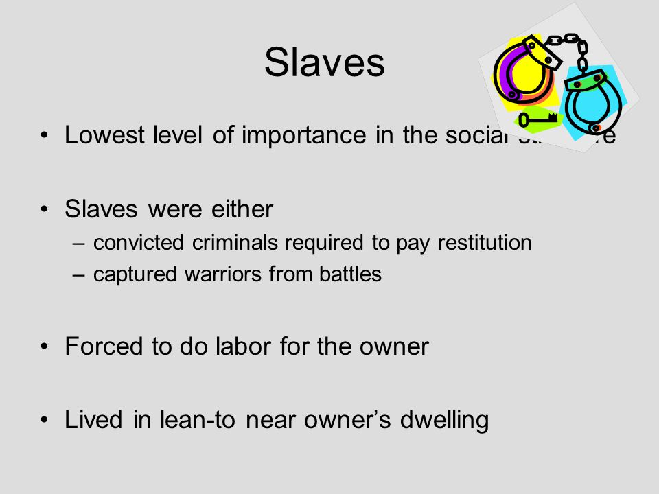 Slaves Lowest level of importance in the social structure