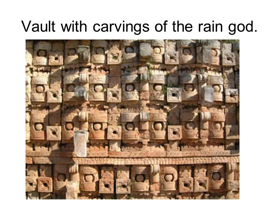 Vault with carvings of the rain god.