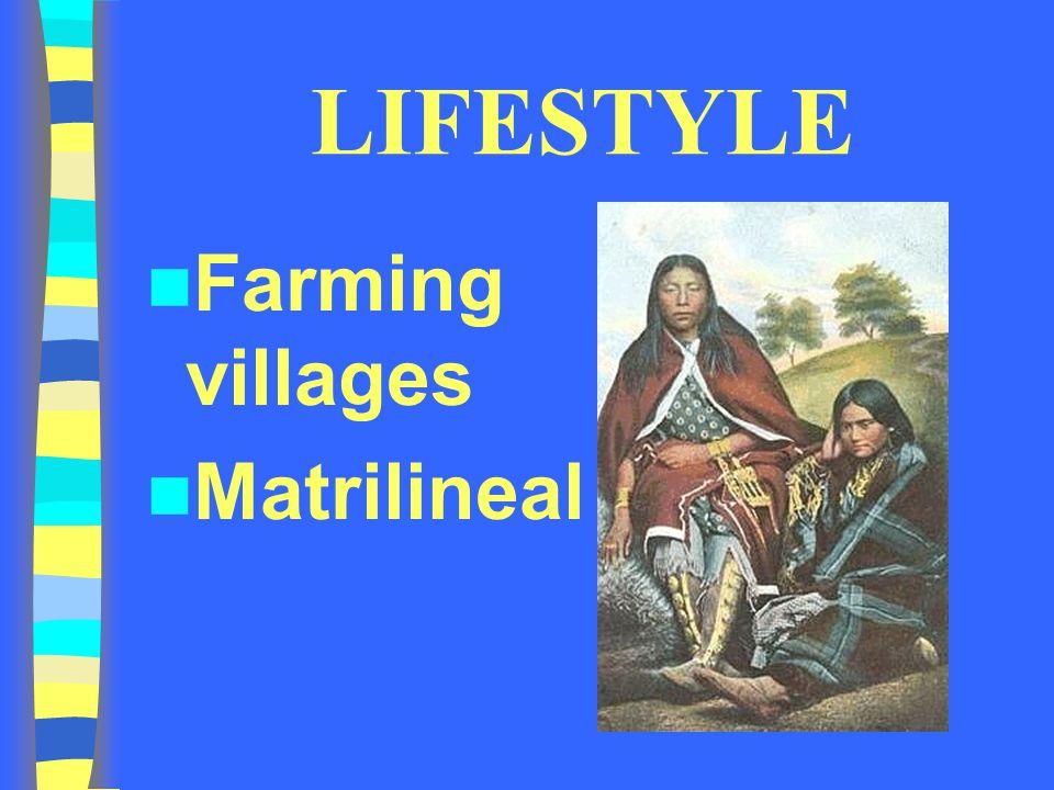 LIFESTYLE Farming villages Matrilineal
