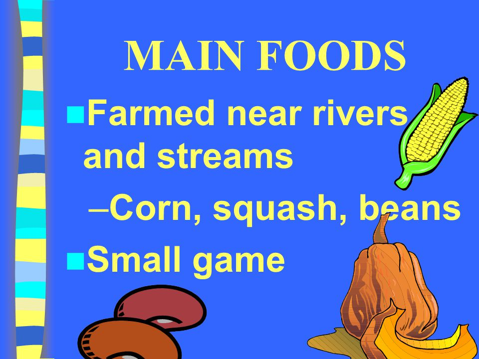 MAIN FOODS Farmed near rivers and streams Corn, squash, beans