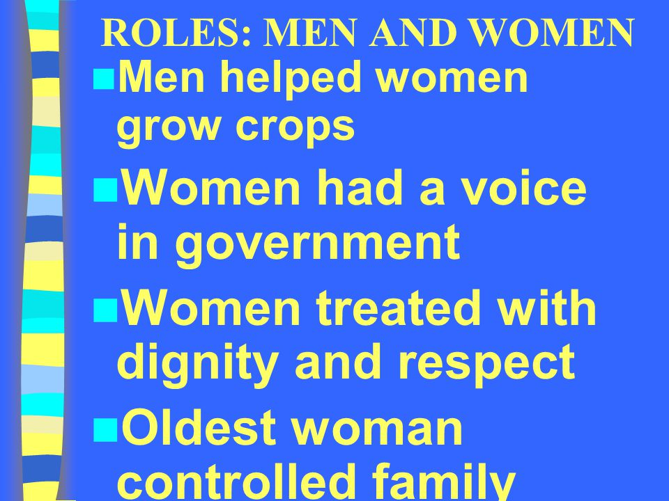 Women had a voice in government Women treated with dignity and respect