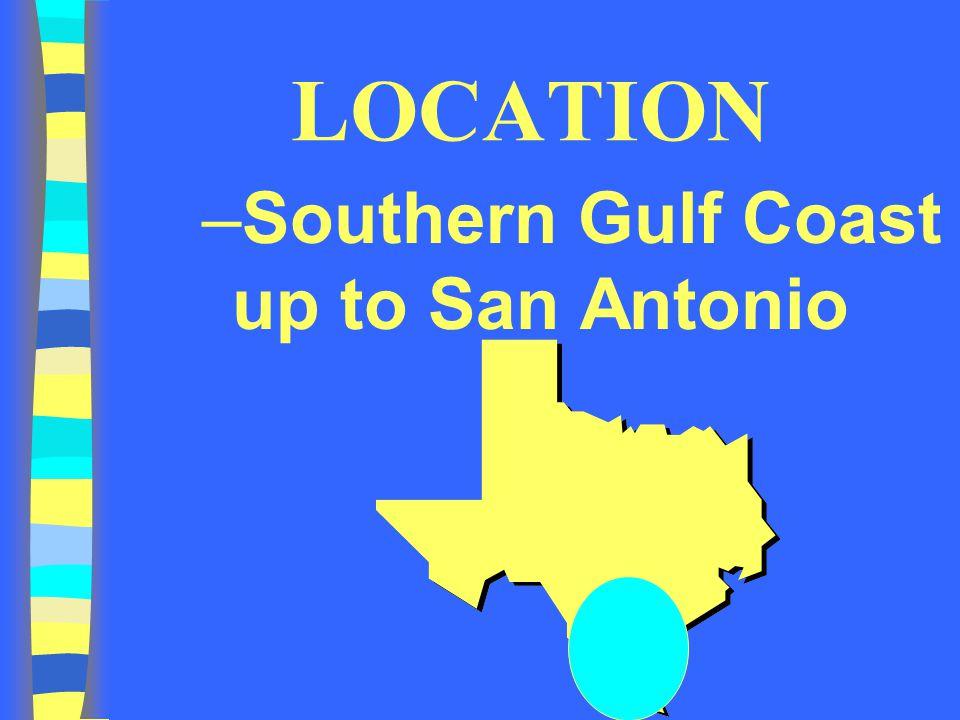 LOCATION Southern Gulf Coast up to San Antonio