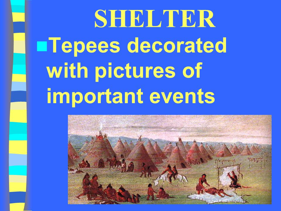 SHELTER Tepees decorated with pictures of important events
