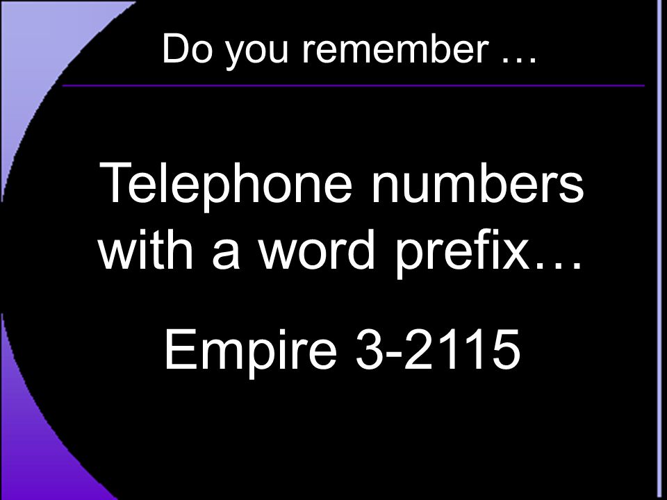 Telephone numbers with a word prefix…