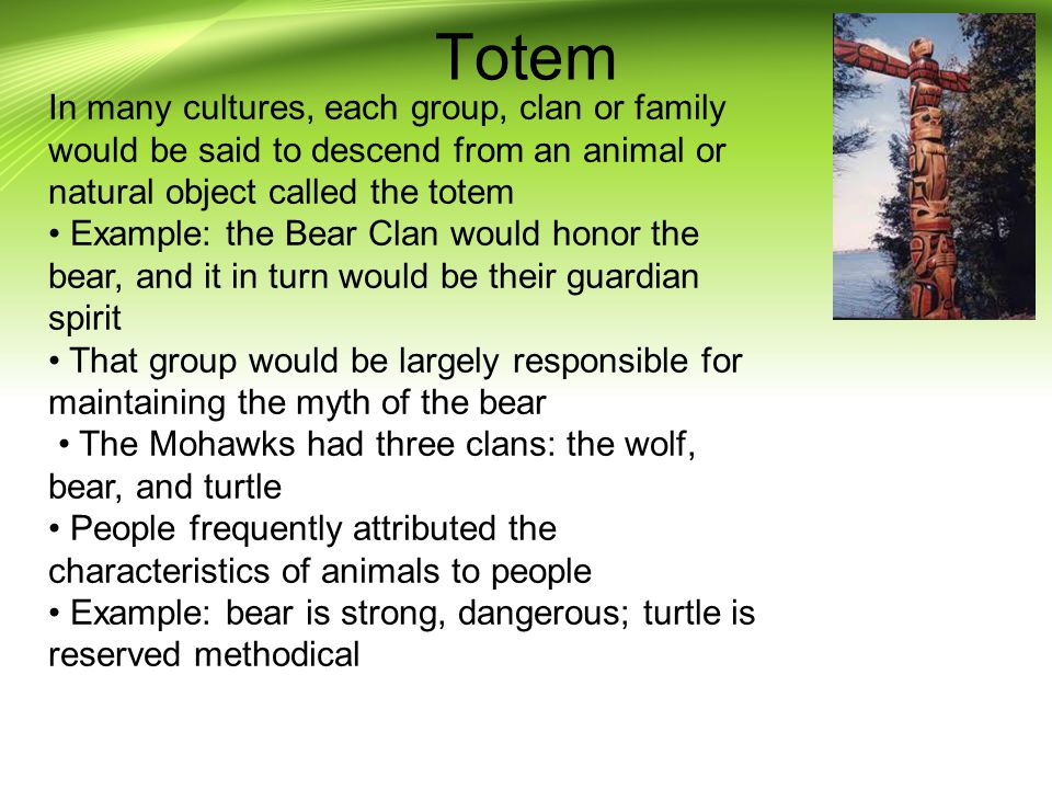 Totem In many cultures, each group, clan or family would be said to descend from an animal or natural object called the totem.