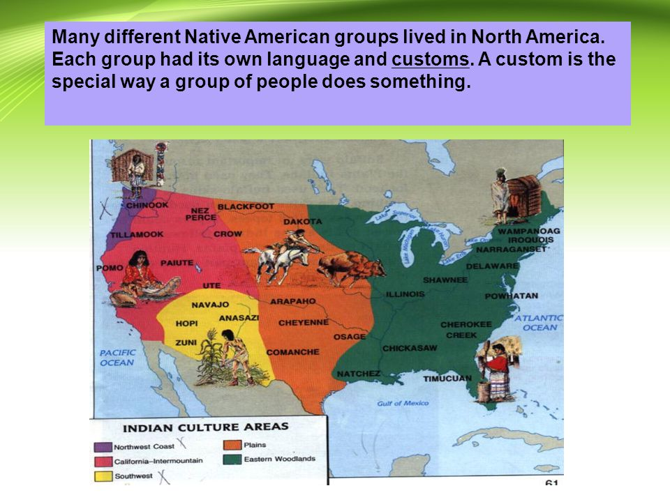 Many different Native American groups lived in North America