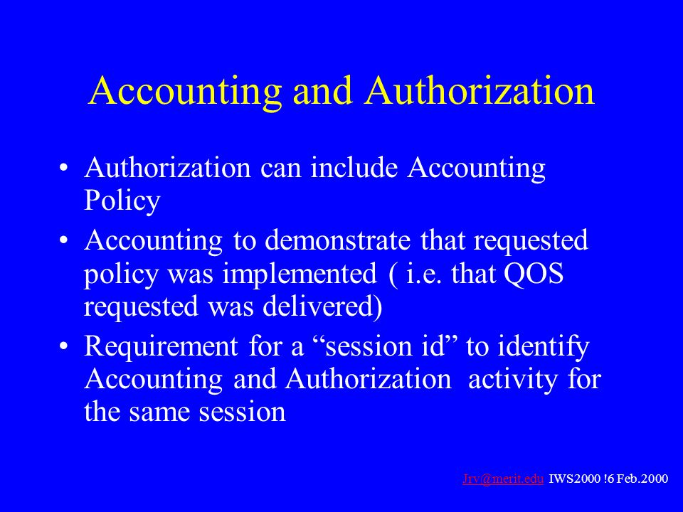 Accounting and Authorization
