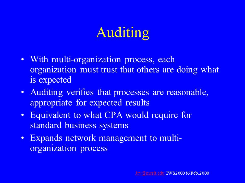 Auditing With multi-organization process, each organization must trust that others are doing what is expected.