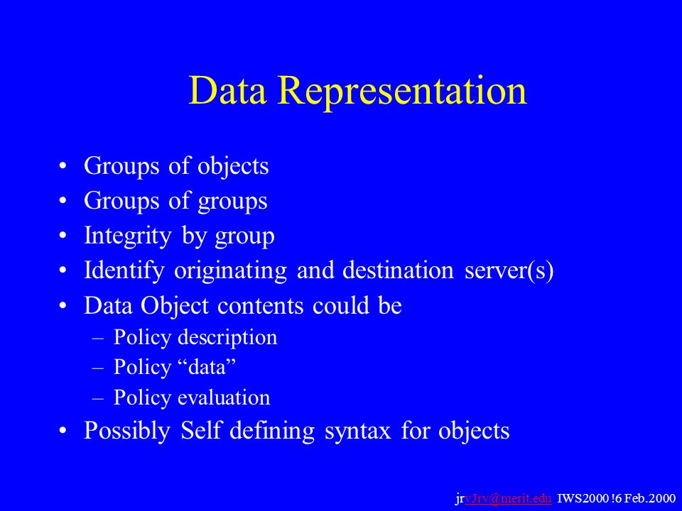 Data Representation Groups of objects Groups of groups