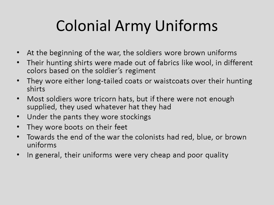 Colonial Army Uniforms