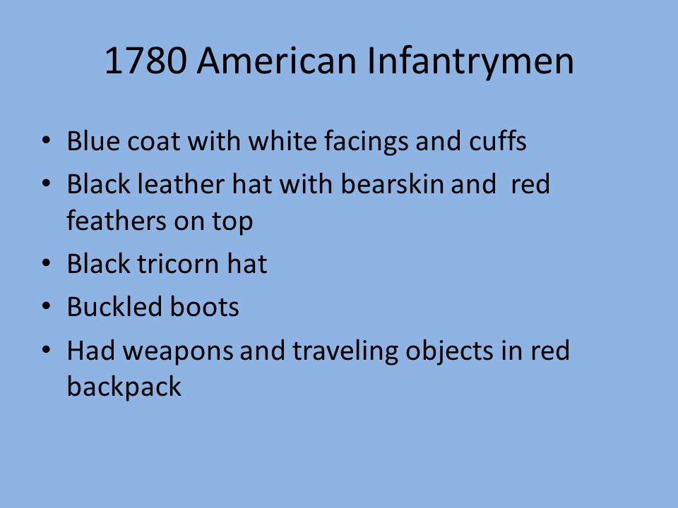 1780 American Infantrymen Blue coat with white facings and cuffs