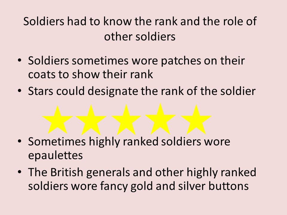 Soldiers had to know the rank and the role of other soldiers