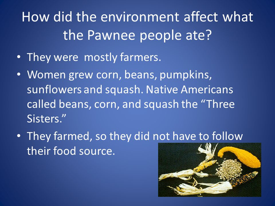 How did the environment affect what the Pawnee people ate