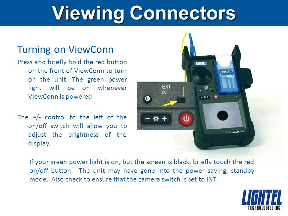 Viewing Connectors Turning on ViewConn