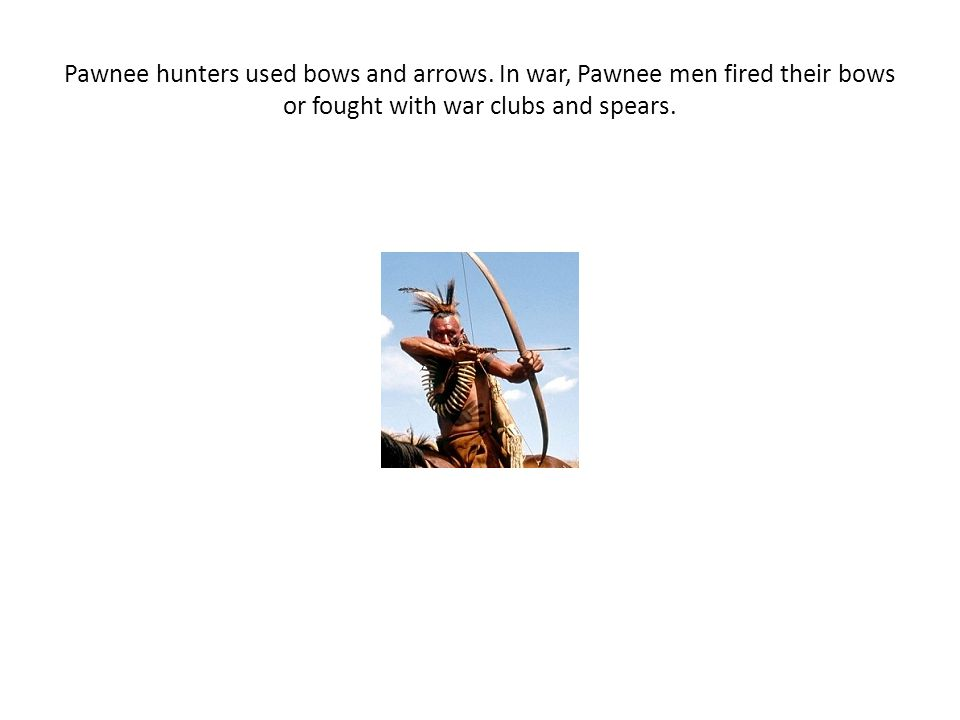 Pawnee hunters used bows and arrows