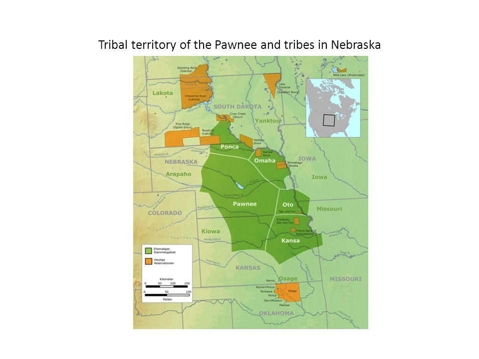Tribal territory of the Pawnee and tribes in Nebraska
