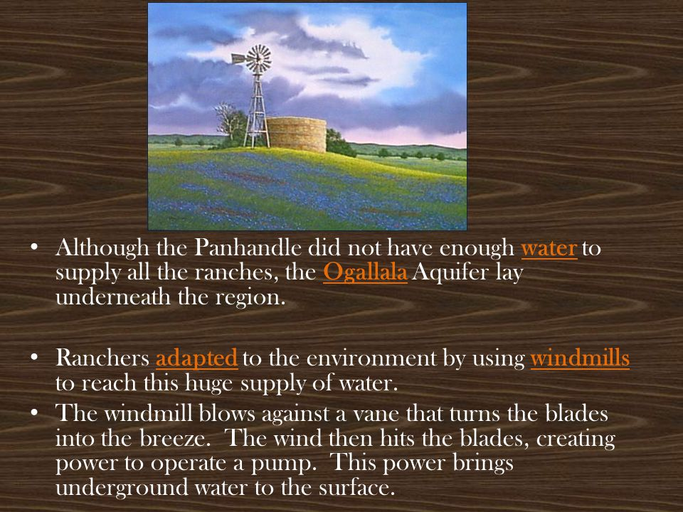 Although the Panhandle did not have enough water to supply all the ranches, the Ogallala Aquifer lay underneath the region.
