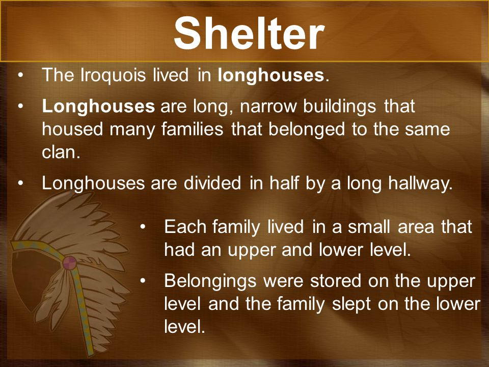 Shelter The Iroquois lived in longhouses.