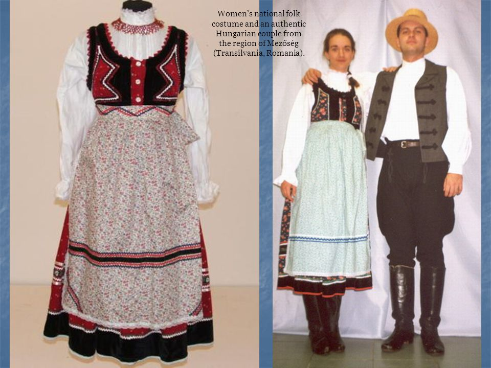 Women's national folk costume and an authentic Hungarian couple from the region of Mezőség (Transilvania, Romania).