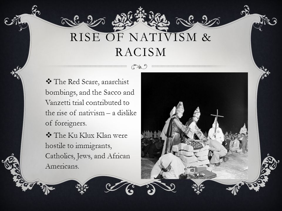 Rise of nativism & racism