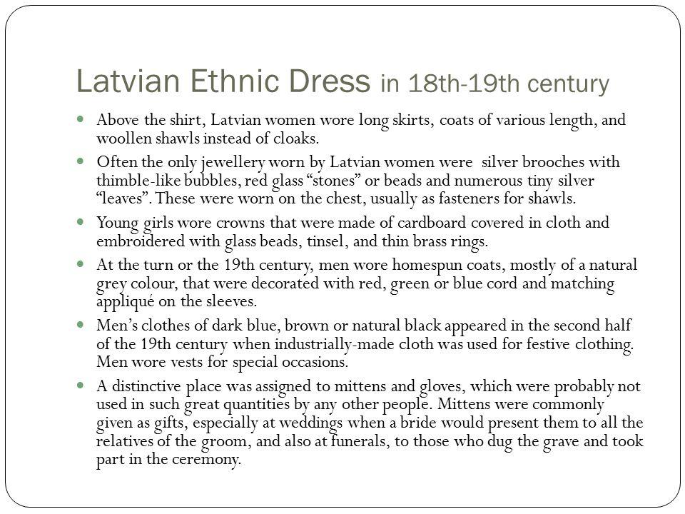 Latvian Ethnic Dress in 18th-19th century