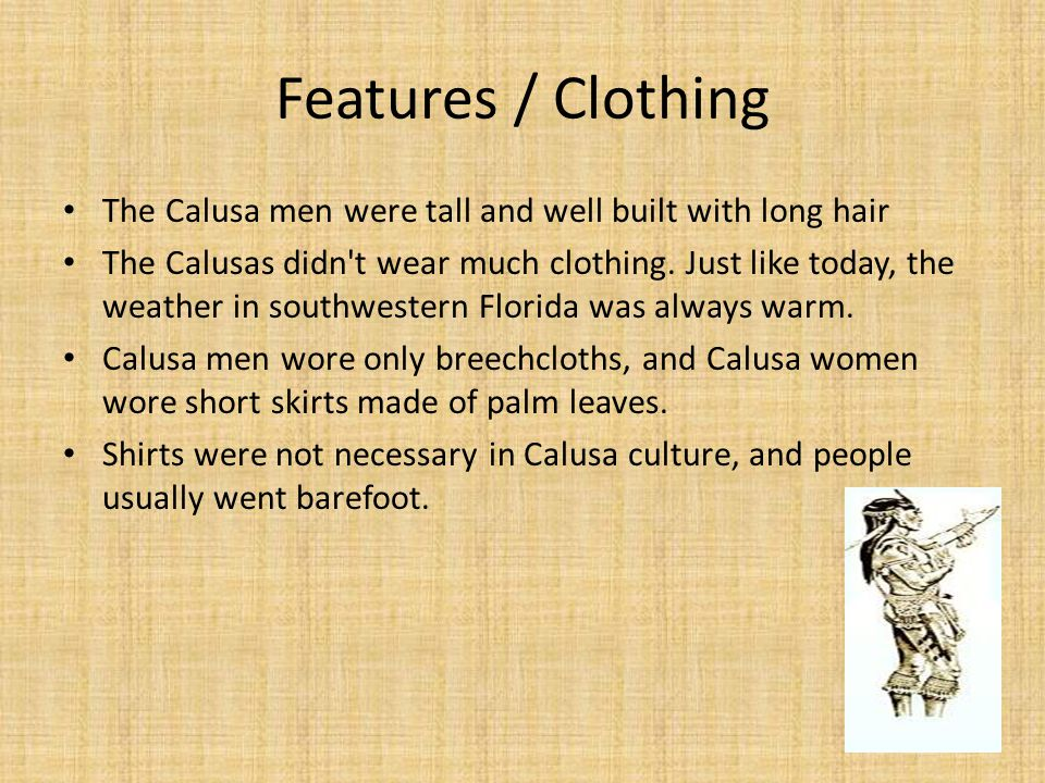 Features / Clothing The Calusa men were tall and well built with long hair.