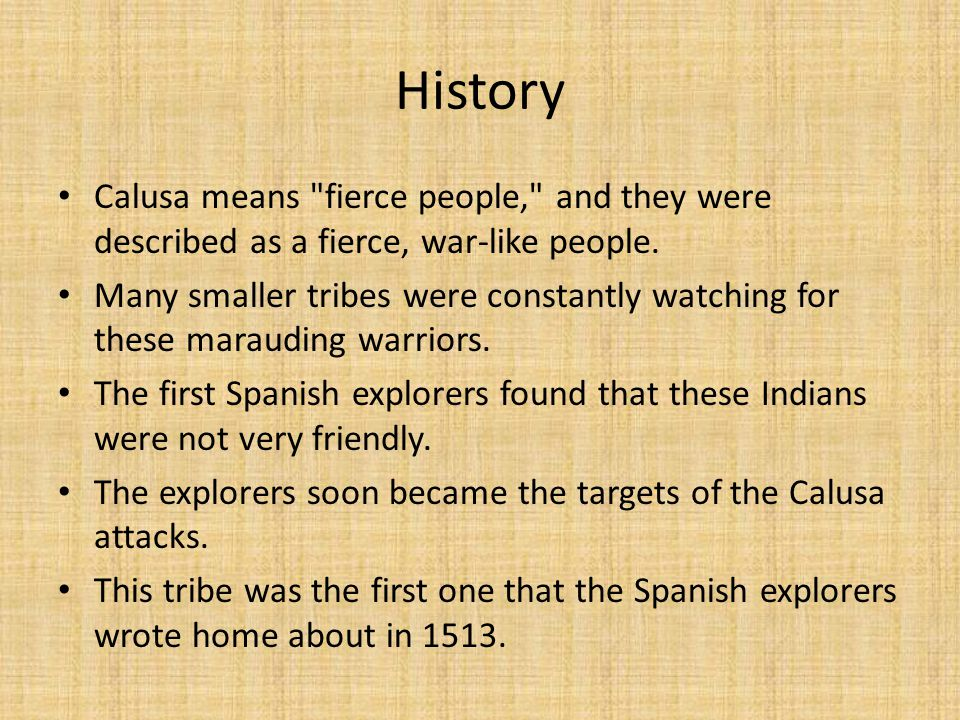 History Calusa means fierce people, and they were described as a fierce, war-like people.