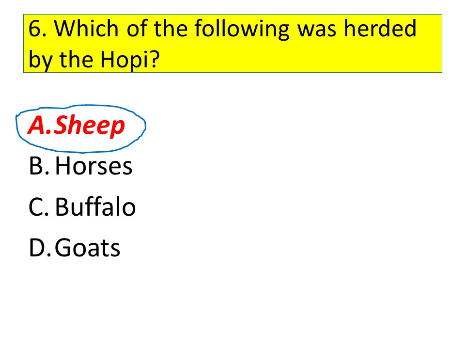 6. Which of the following was herded by the Hopi