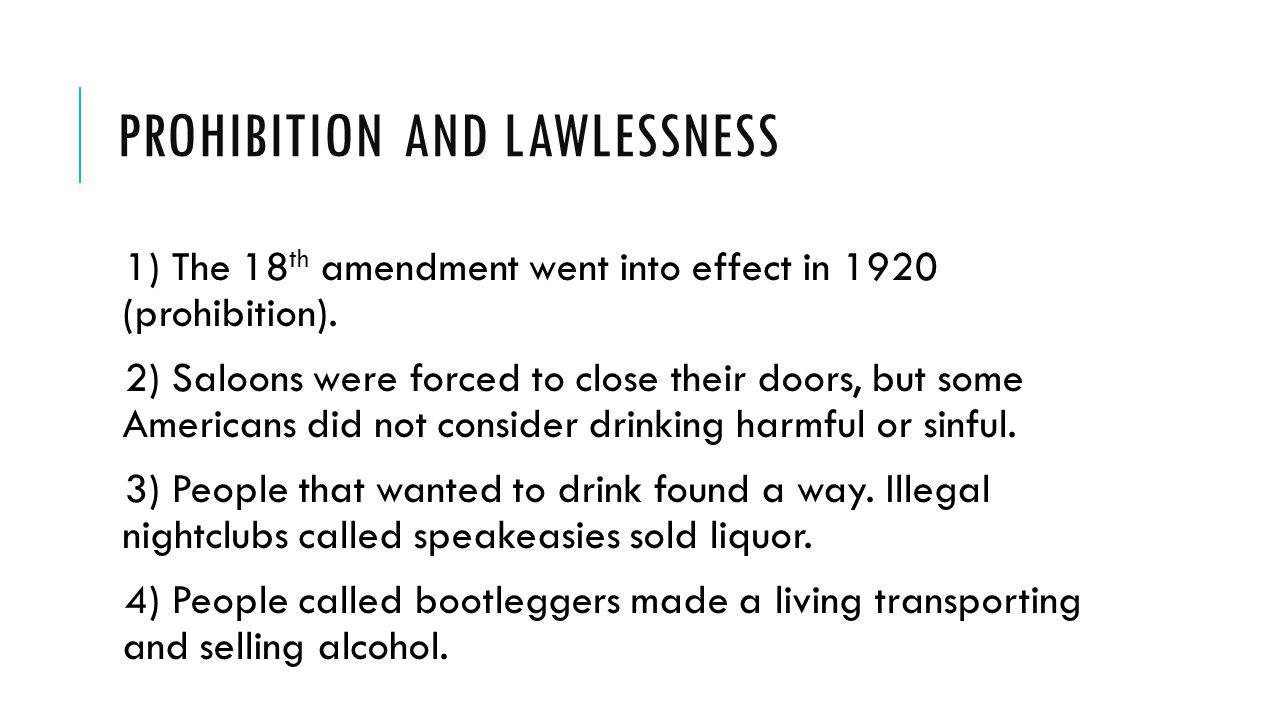 Prohibition and Lawlessness