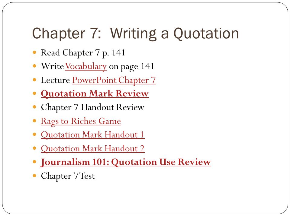 Chapter 7: Writing a Quotation