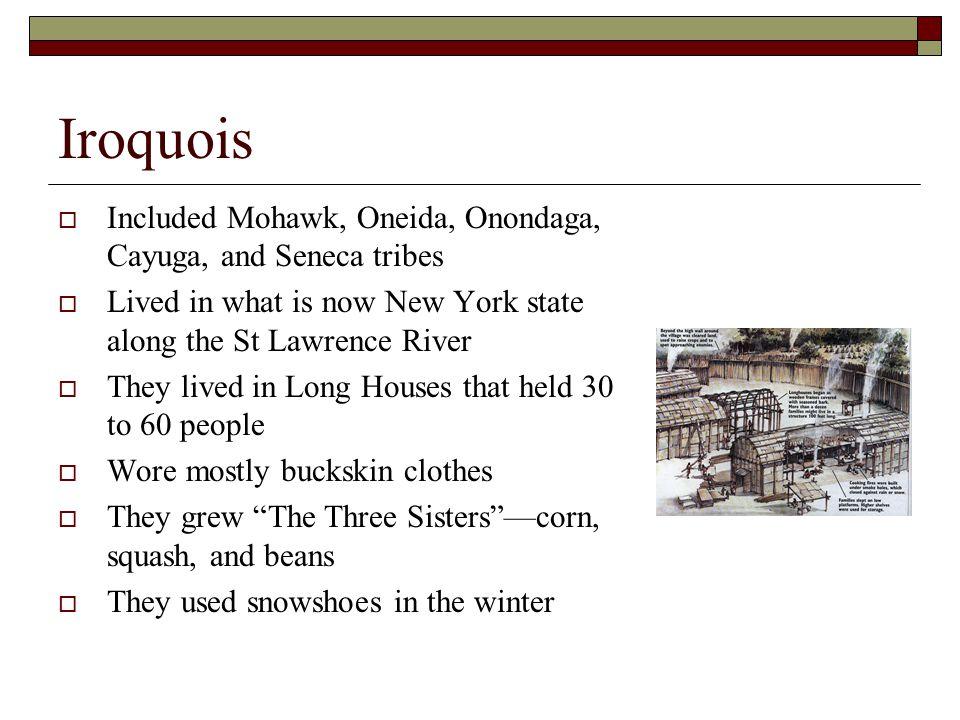 Iroquois Included Mohawk, Oneida, Onondaga, Cayuga, and Seneca tribes