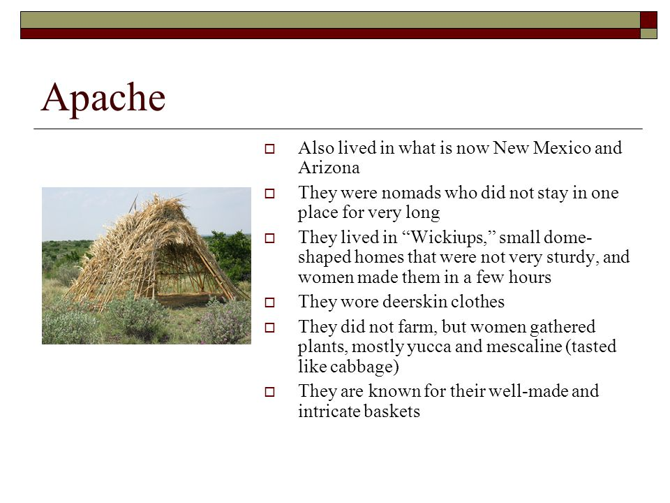 Apache Also lived in what is now New Mexico and Arizona