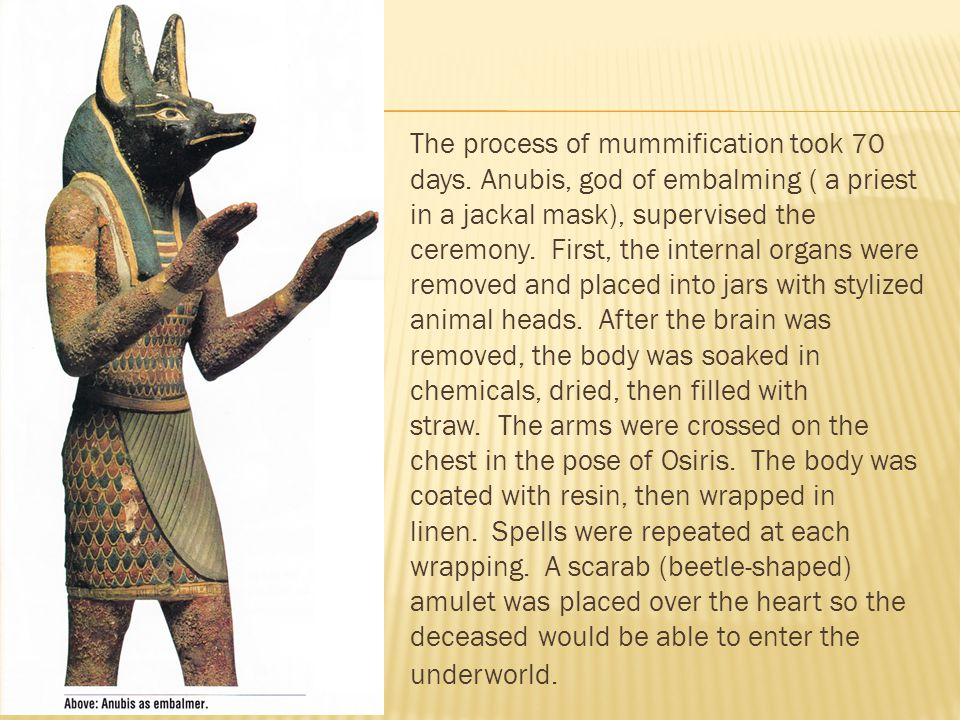 The process of mummification took 70 days