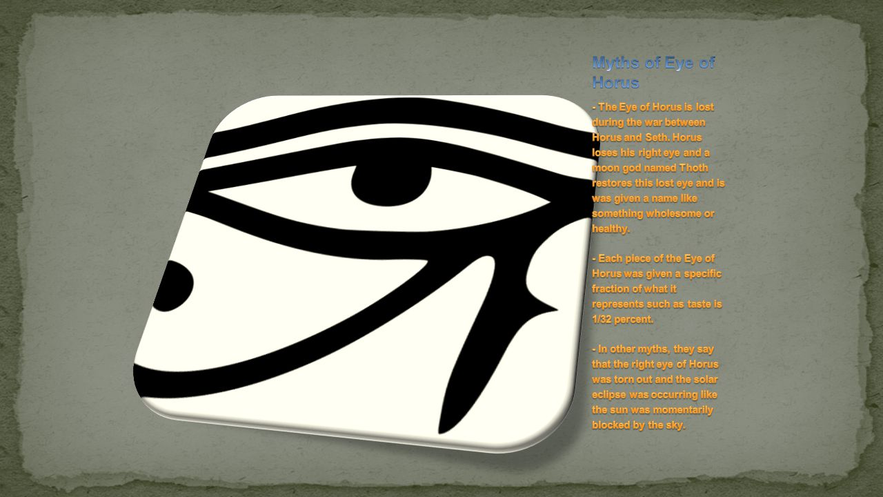 Myths of Eye of Horus