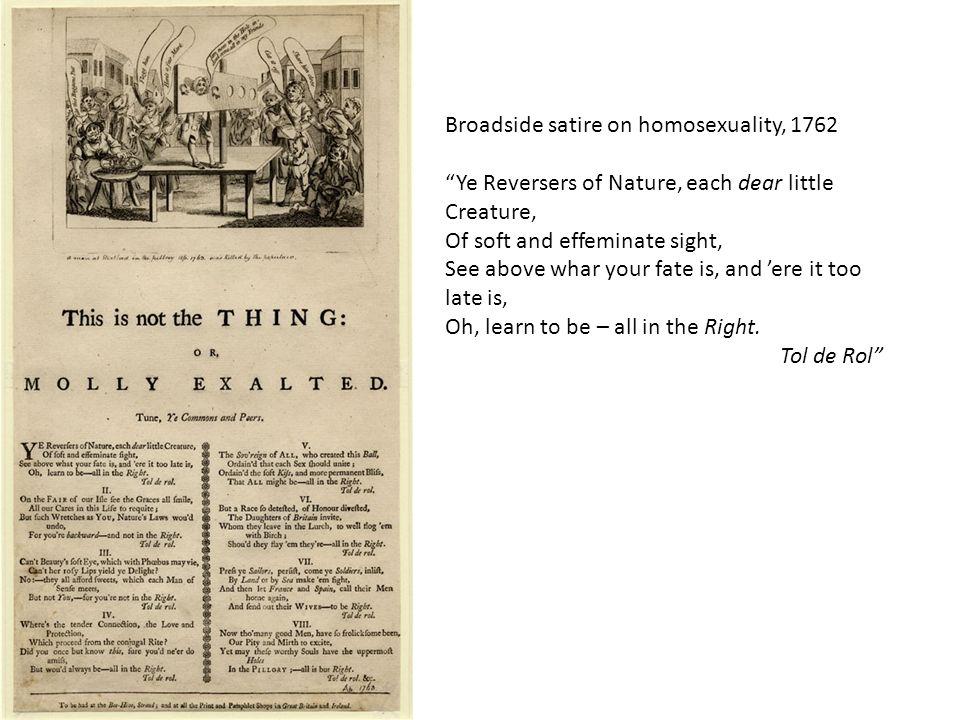 Broadside satire on homosexuality, 1762
