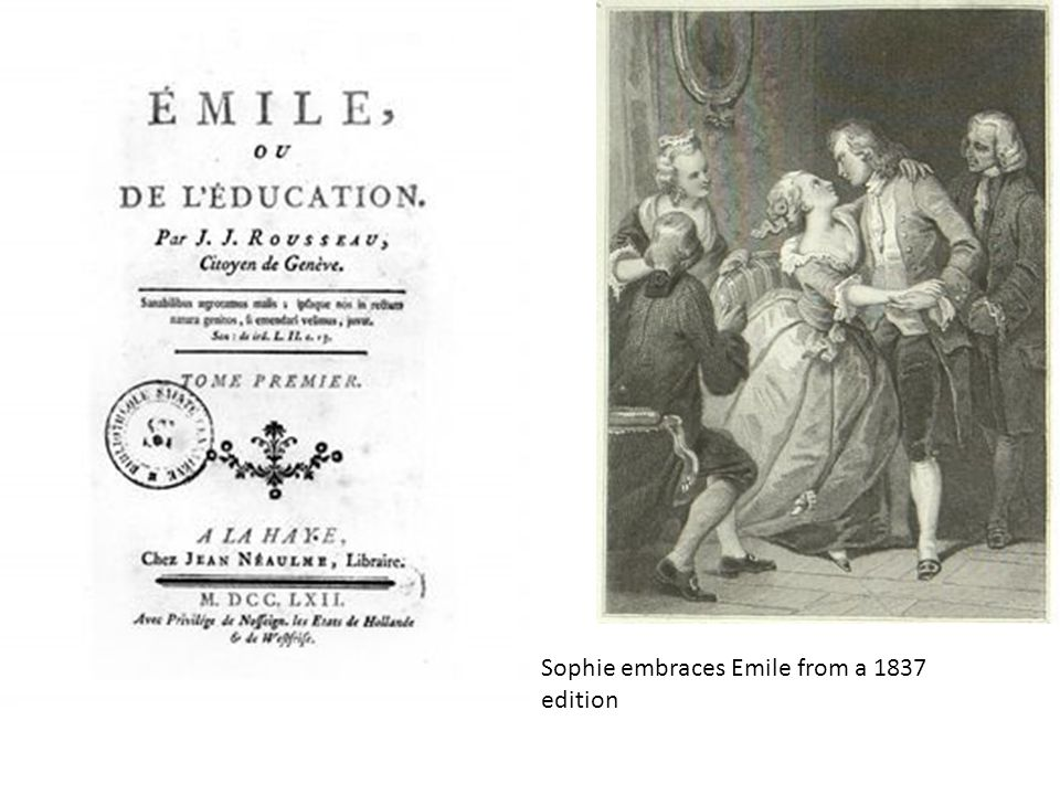 Sophie embraces Emile from a 1837 edition
