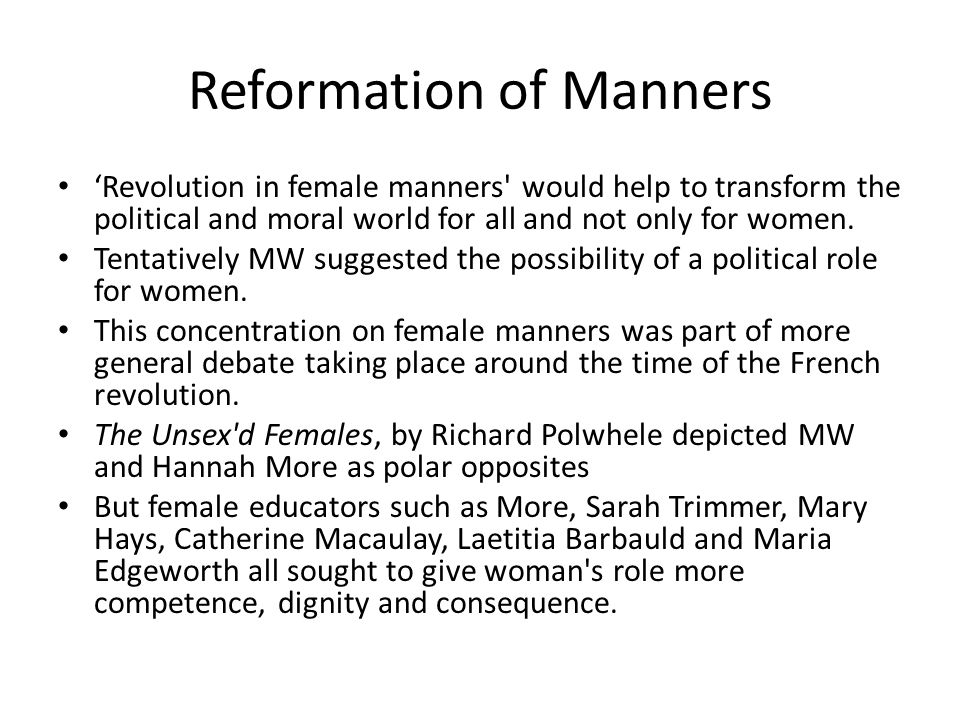 Reformation of Manners