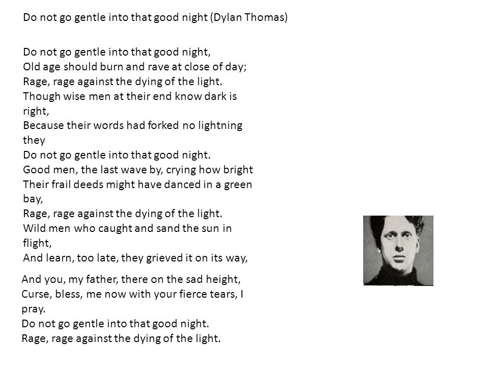 Do not go gentle into that good night (Dylan Thomas)