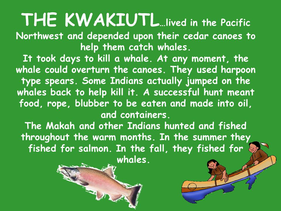 THE KWAKIUTL…lived in the Pacific Northwest and depended upon their cedar canoes to help them catch whales.