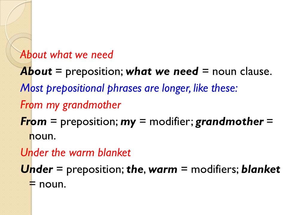 About what we need About = preposition; what we need = noun clause