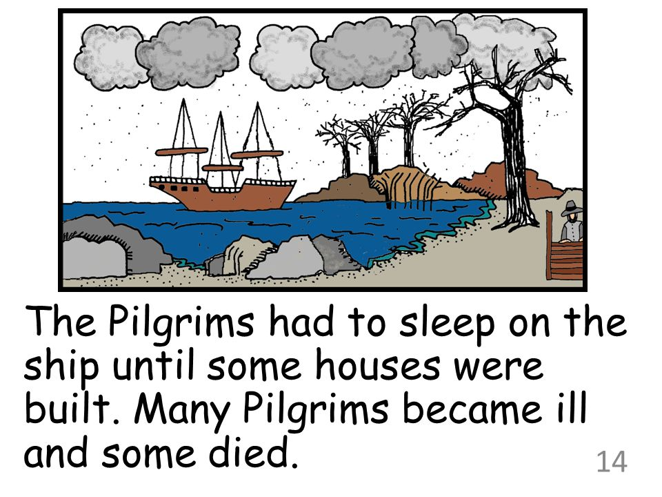 The Pilgrims had to sleep on the ship until some houses were built