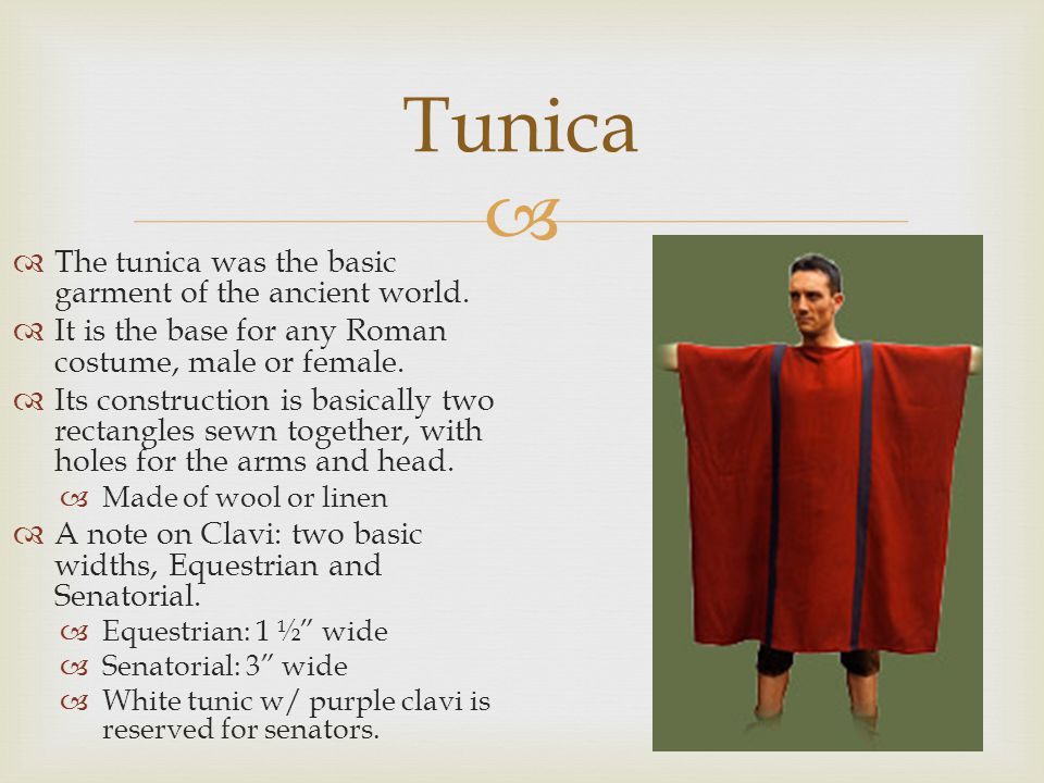 Tunica The tunica was the basic garment of the ancient world.
