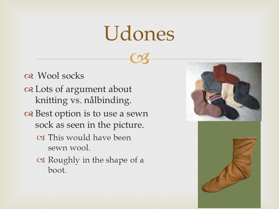 Udones Wool socks Lots of argument about knitting vs. nålbinding.